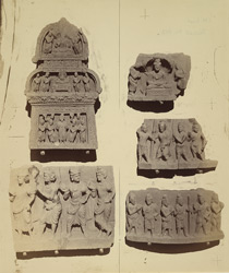 Group of Buddhist sculptures from the upper monastery at Nutta, Peshawar District 10031112